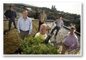 Skyline owners stand on the newly installed green roof